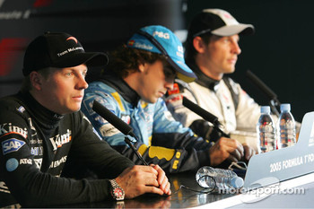 Press conference: pole winner Fernando Alonso with Kimi Raikkonen and Jenson Button