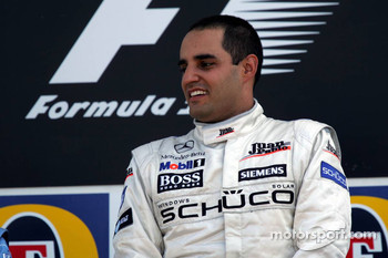 Podium: race winner Juan Pablo Montoya
