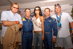 Nigel Mansell and Johnny Cecotto with Miss Norisring Svetlana Dragic