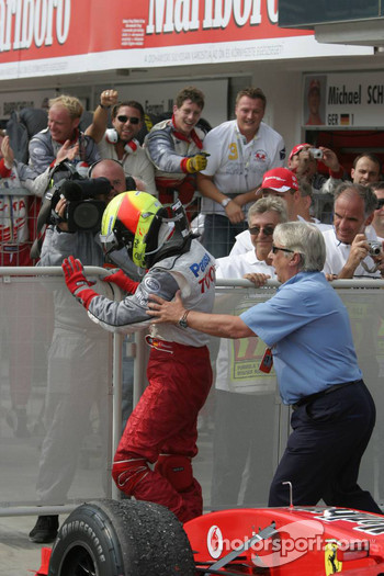 Ralf Schumacher celebrates