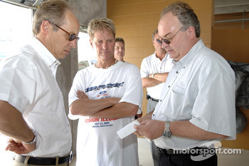 Greg Specht, Ford's North American Operations Manager, Eddie Wood and Bernie Marcus, Ford's Chief Aerodynamicist discuss the Ford Fusion test