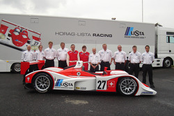 Horag Lista Racing photoshoot: Fredy Lienhard and Didier Theys pose with Horag Lista Racing team members