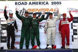 Podium: race winner Klaus Graf with Paul Gentilozzi, Greg Pickett, GT-1 winner Cliff Ebben and GTA winner Steve Kelso