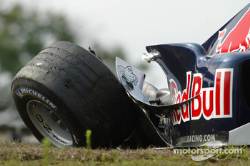 Damaged car of Christian Klien