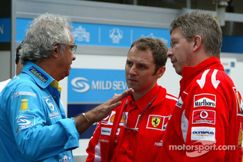 Flavio Briatore, Stefano Domenicali and Ross Brawn