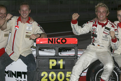 2005 GP2 Series champion Nico Rosberg celebrates with teammate Alex Premat