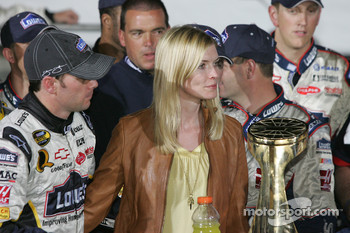 Victory lane: race winner Jimmie Johnson and wife Chandra