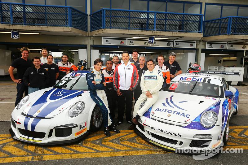 Nelson Piquet und sein 16-jähriger Sohn Piquet testen Porsche 911 GT3-Autos aus dem Brasilianischen GT3-Cup