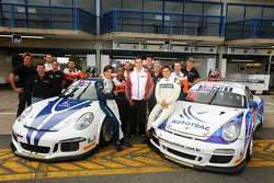 Nelson Piquet and his 16-year-old son Pedro Piquet test Porsche 911 GT3 cars from the Porsche GT3 Cup Brazil series