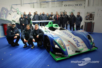 Race winner and LMES 2005 champions Emmanuel Collard and Jean-Christophe Boullion celebrate with Henri Pescarolo and Pescarolo Sport team members