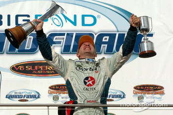 Podium: V8 Supercar 2005 champion Russell Ingall celebrates