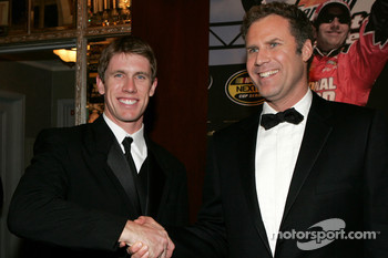 NASCAR Nextel Cup Awards Banquet at the Waldorf Astoria Hotel: actor Will Ferrell meets driver Carl Edwards at The Yellow Carpet entry