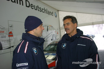 Dr Mario Theissen (BMW Motorsport Director) with Jorg Muller