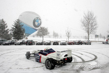 Jorg Muller drives the BMW M3 GTR in the snow