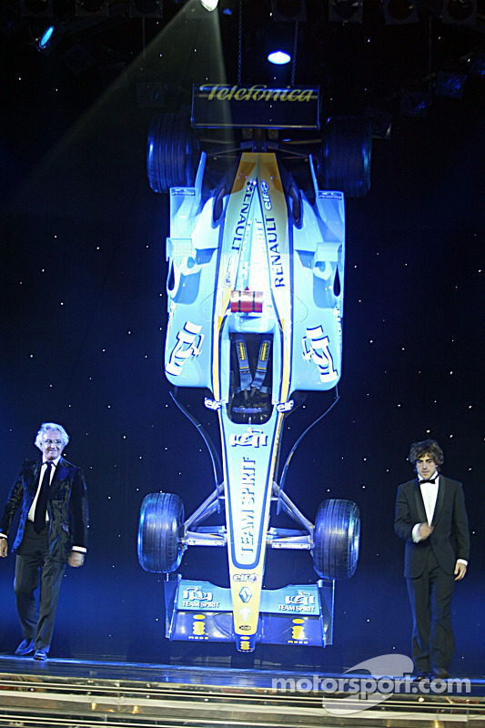 FIA Formula One World Champions Flavio Briatore and Fernando Alonso on stage