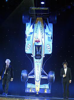 FIA Formula One World Champions Flavio Briatore and Fernando Alonso on stage