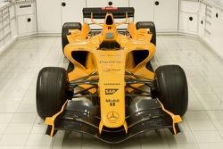 The interim MP4-20 that will be running in an orange livery in the winter testing
