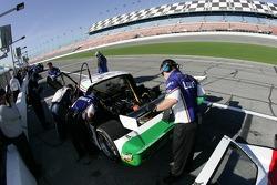 Lowe's Fernandez Racing crew members at work