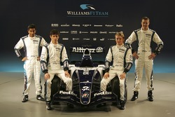 Narain Karthikeyan, Mark Webber, Nico Rosberg and Alexander Wurz with the new Williams FW28