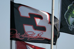 A Dale Earnhardt flag shines in the sun before the start of the practice session
