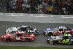 Dale Earnhardt Jr., Ryan Newman, Jimmie Johnson and Brian Vickers battle for the lead