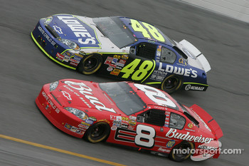 Dale Earnhardt Jr. and Jimmie Johnson battle for the lead