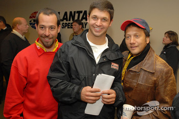 Crew chief Jimmy Elledge and Reed Sorenson pose with actor Rob Schneider