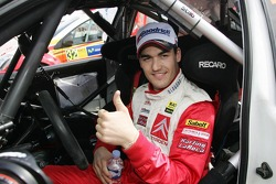Daniel Sordo celebrates second place finish
