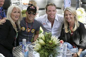 Christian Klien and Robert Doornbos with journalists