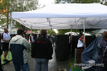 A wet morning at the Albert Park Circuit paddock