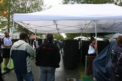 A wet morning at the Albert Park Circuit paddock