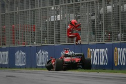 Michael Schumacher retires from the race after his crash