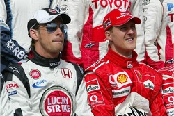 Drivers photoshoot: Jenson Button and Michael Schumacher