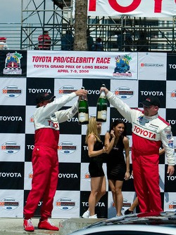 Podium celebration for Bucky Lasek and Todd Bodine