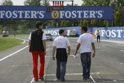 Lewis Hamilton goes on a track walk