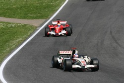 Rubens Barrichello leads Felipe Massa