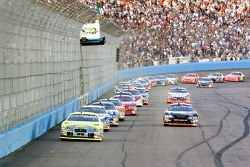 Greg Biffle leads the field on a restart