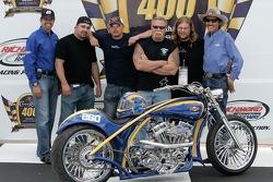Kyle Petty of Petty Enterprises, Vince DiMartino, Paul Teutul Jr. Paul Teutul Sr. Mikey Teutul and Richard Petty of Petty Enterprises, unveil the OCC Custom Sunoco Motorcycle