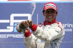 Lewis Hamilton race winner sprays champagne