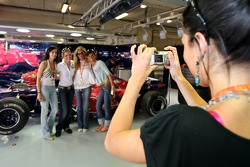 Formula Unas girls in the Scuderia Toro Rosso garage
