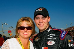 Denny Hamlin poses for a photo with his mom, Mary Lou Hamlin