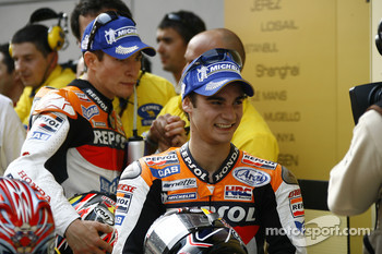 Race winner Dani Pedrosa and Nicky Hayden