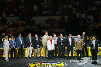 NASCAR President Mike Helton speaks during the opening ceremony of the NASCAR Nextel Pit Crew Challenge at the Charlotte Bobcats Arena in Charlotte