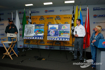 Driver Kyle Petty talks at a press conference announcing plans to build Kurt Busch's Sports Superdome, as driver Kurt Busch and Patty Petty listen