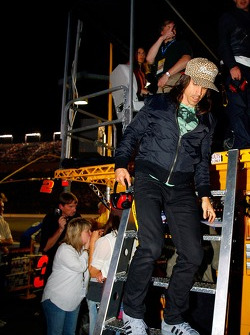 Anthony Kiedis of the Red Hot Chili Peppers visits the pit of Elliott Sadler