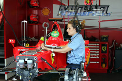 FIA technical delegate checks the Ferrari