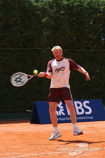Tennis match: Nico Rosberg and Boris Becker