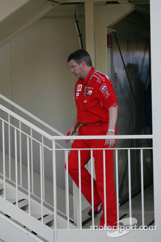 Ross Brawn attends race stewards meeting regarding Michael Schumacher's pole position
