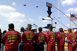 Greg Biffle's team watches the flyover