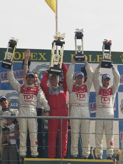 LMP1 podium: class and overall winner Marco Werner, Frank Biela and Emmanuele Pirro